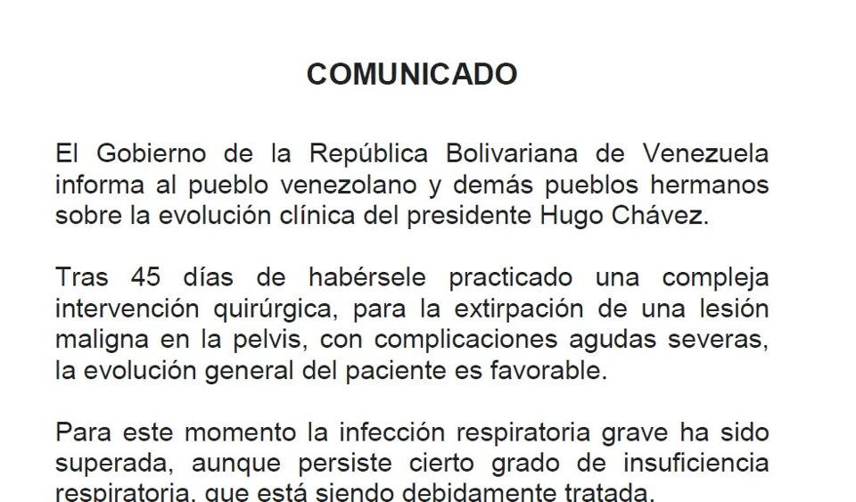 comunicado salud Chavez Ene 26, 2013