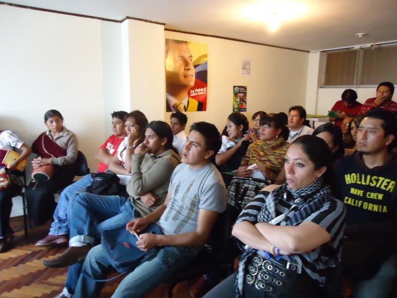 Participación de varias organizaciones juveniles indígenas en la provincia de Chimborazo